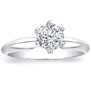 14k White Gold 1ct TDW Round 6-prong Diamond Solitaire Ring