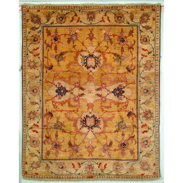 Safavieh Hand-knotted Peshawar Vegetable Dye Light Gold/ Ivory Wool Rug - 8' x 10'