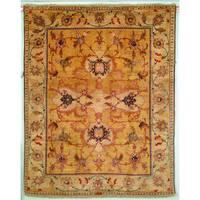 Safavieh Hand-knotted Peshawar Vegetable Dye Light Gold/ Ivory Wool Rug - 8' x 10'