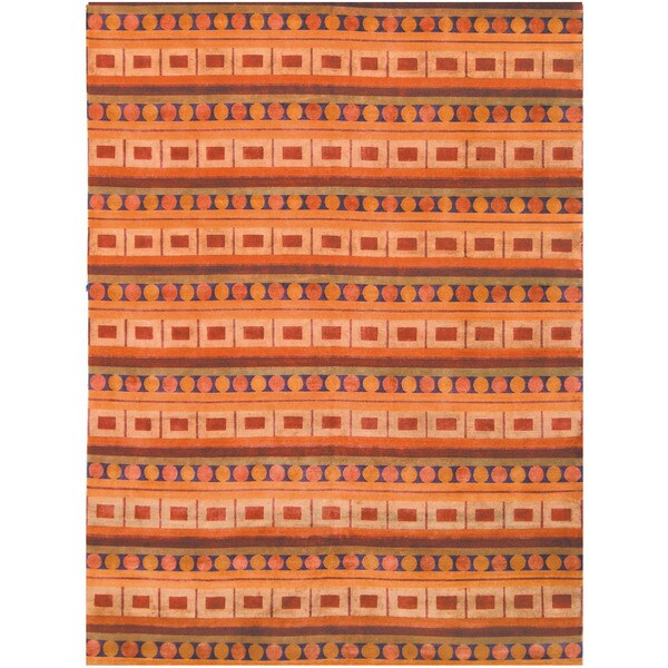Safavieh Hand-knotted Nepalese Rust/ Multi Wool/ Silk Rug (8' x 10')