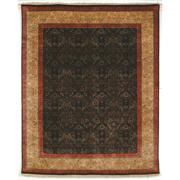 Safavieh Hand-knotted Ganges River Black/ Gold Wool Rug - 9' x 12'