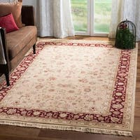 Safavieh Hand-knotted Tabriz Floral Tan/ Red Wool/ Silk Rug - 6' x 9'