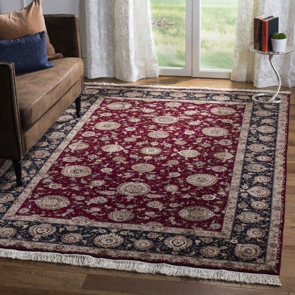 Safavieh Hand-knotted Tabriz Floral Red/ Navy Wool/ Silk Rug - 9' x 12'