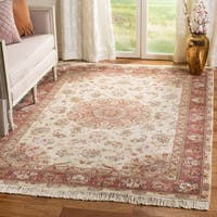 Safavieh Hand-knotted Tabriz Floral Ivory/ Ivory Wool/ Silk Rug - 6' x 9'