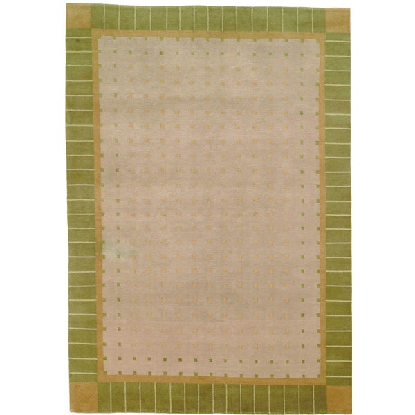 Safavieh Hand-knotted Nepalese Light Green Border Wool Rug - 8' x 10'