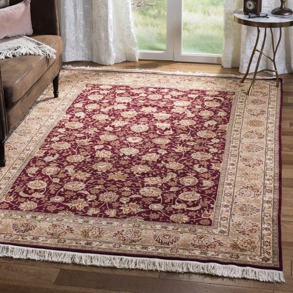 Safavieh Hand-knotted Tabriz Floral Burgundy/ Camel Wool/ Silk Rug - 9' x 12'