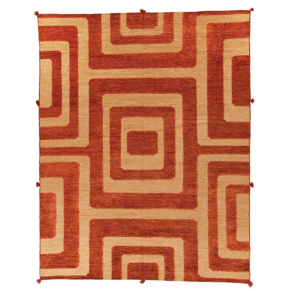 Safavieh Hand-knotted Santa Fe Modern Abstract Light Gold Wool Rug - 9' x 12'