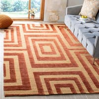 Safavieh Hand-knotted Santa Fe Modern Abstract Light Gold Wool Rug - 6' x 9'