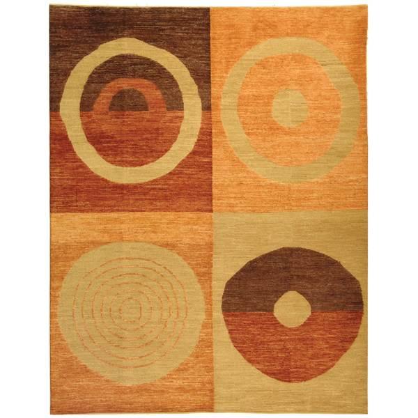 Safavieh Hand-knotted Santa Fe Modern Abstract Beige/ Rust Wool Rug - 9' x 12'