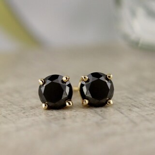 Auriya 1/2ct to 4ct TW Round Black Diamond Stud Earrings 14k Yellow Gold
