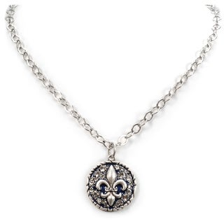 Sweet Romance Fleur De Lis French Crystal Vintage Necklace