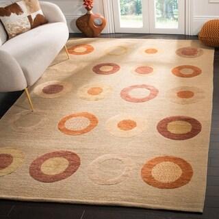 Safavieh Hand-knotted Santa Fe Modern Abstract Beige Wool Rug (9' x 12')