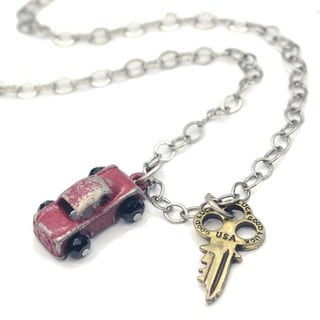 Sweet Romance Junk Car and Steampunk Key Necklace