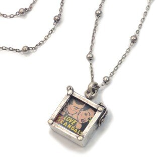 Sweet Romance Steampunk Square Photo Locket Pendant Necklace