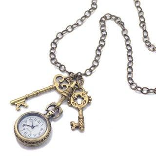 Sweet Romance Steampunk Pocket Watch Antique Keys Necklace