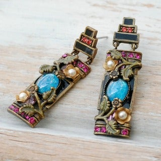 Sweet Romance Chinese Art Deco Enamel Flower Earrings