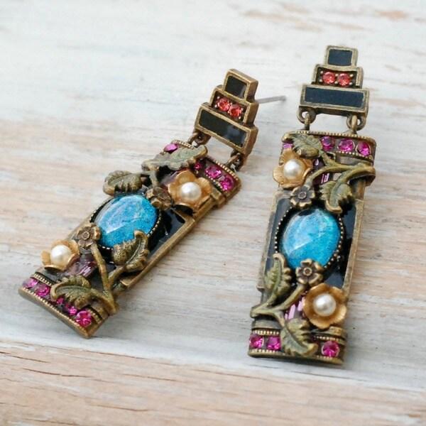 Sweet Romance Chinese Art Deco Enamel Flower Earrings
