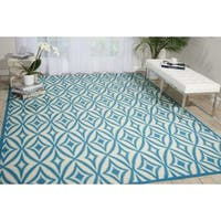 Waverly Sun N' Shade Centro Azure Indoor/ Outdoor Rug by Nourison - 10' x 13'