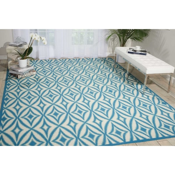 Waverly Sun N' Shade Centro Azure Indoor/Outdoor Rug - 10' x 13'