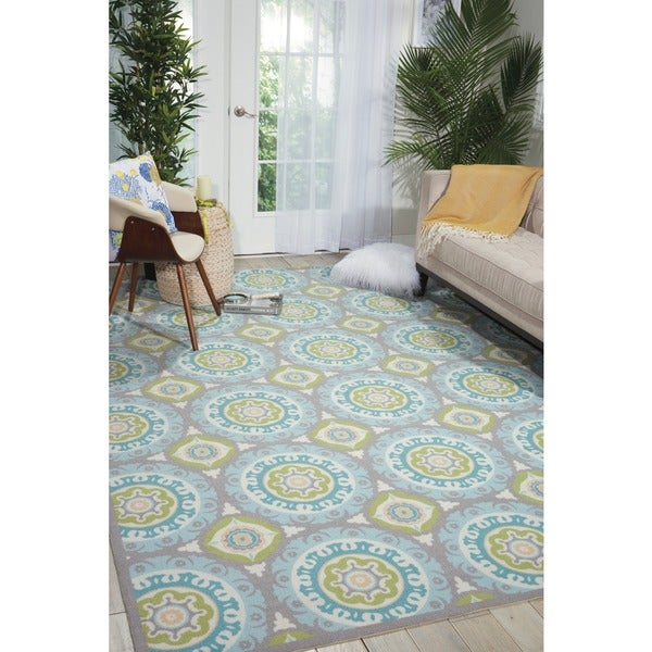 Waverly Sun N Shade Solar Flair Jade Outdoor Area Rug By