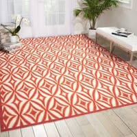 Waverly Sun N' Shade Centro Campari Indoor/ Outdoor Rug by Nourison - 10' x 13'