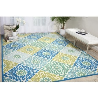 Waverly Sun N' Shade Sweet Things Marine Indoor/ Outdoor Rug by Nourison (10' x 13')