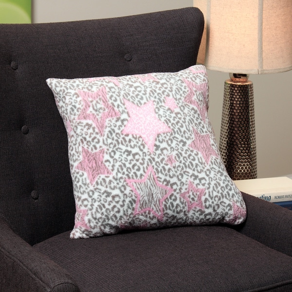 Square Leopard/ Star Plush Decorative Throw Pillow