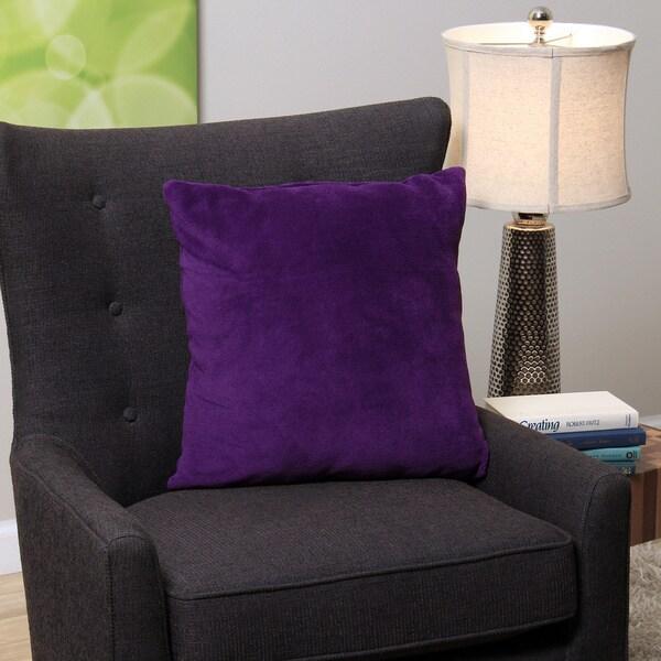 Square Purple Plush Decorative Throw Pillow
