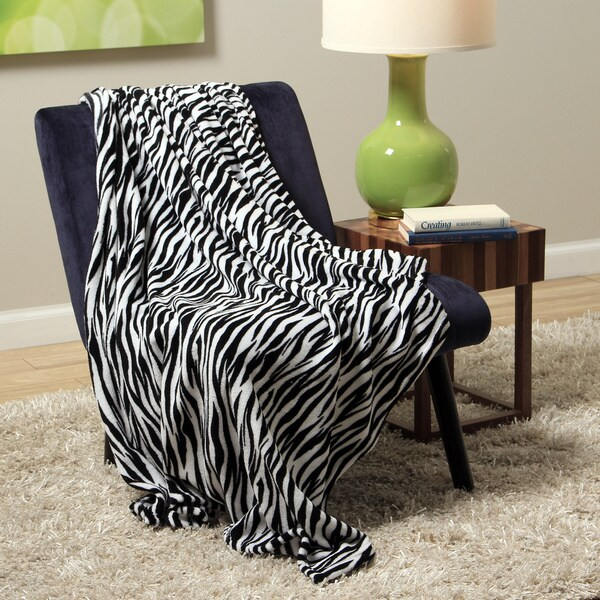 Plush Decorative Zebra Throw