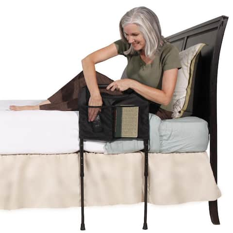 Able Life Bedside Sturdy Rail Elderly Home Bed Handle with Adjustable Legs and Pouch