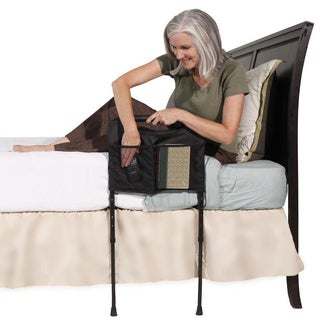 Able Life Bedside Sturdy Rail Elderly Home Bed Handle with Adjustable Legs and Organizer Pouch