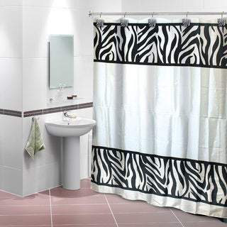 Zebra Print Shower Curtain with 12 Decorative Hooks