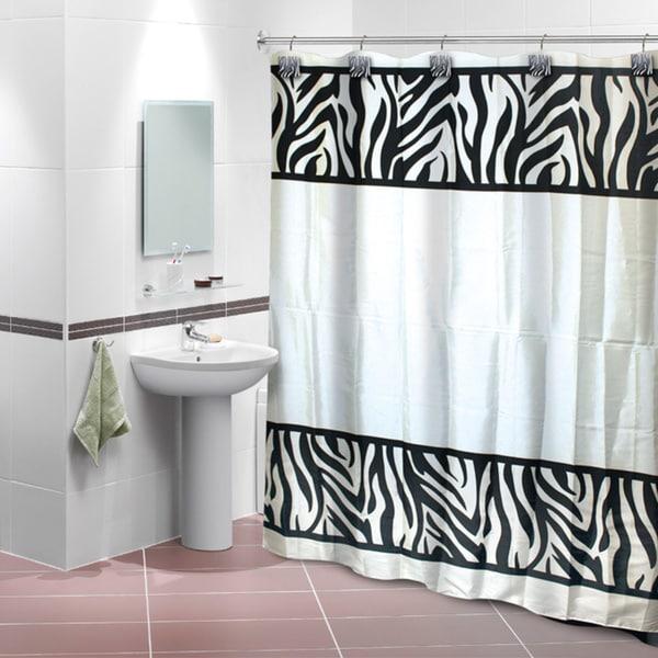 Zebra Print Shower Curtain with 12 Decorative Hooks