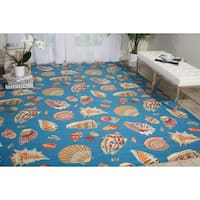 Waverly Sun N' Shade Low Tide Azure Indoor/ Outdoor Rug by Nourison - 10' x 13'