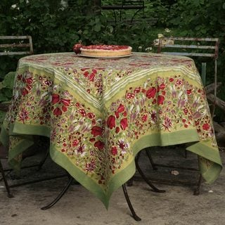 Link to Jardine Red/ Green Floral Cotton Tablecloth Similar Items in Serveware