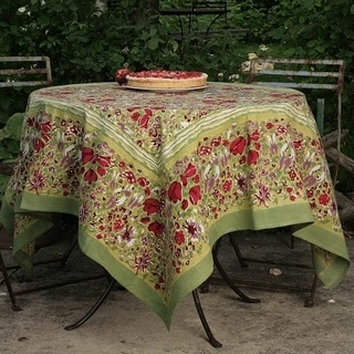 High Quality Jardine Red/ Green Floral Cotton Tablecloth