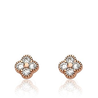 Little Miss Twin Stars Little Miss Flower Girl Rhodium-plated Cubic Zirconia Square Stud Earrings