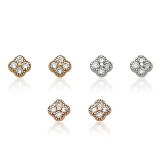 Little Miss Twin Stars Little Miss Flower Girl Rhodium-plated Cubic Zirconia Square Stud Earrings