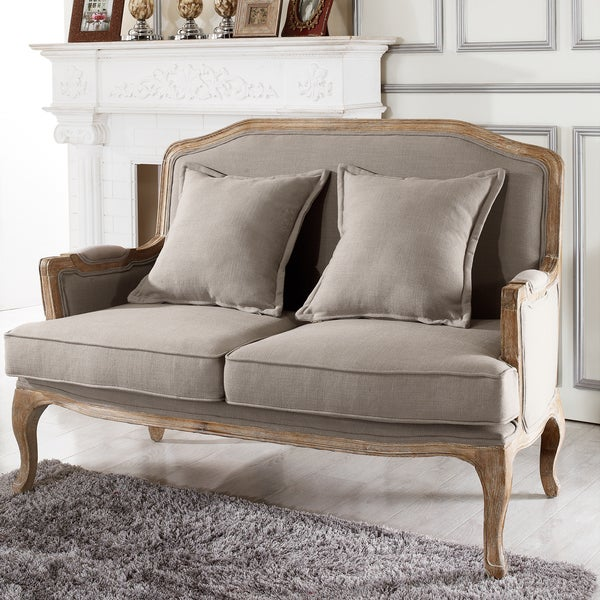 Baxton studio constanza classic antiqued french loveseat for Classic loveseat