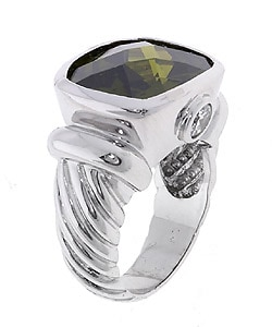 Icz Stonez Rhodium-plated  Sterling Silver Colored CZ Fluted Ring