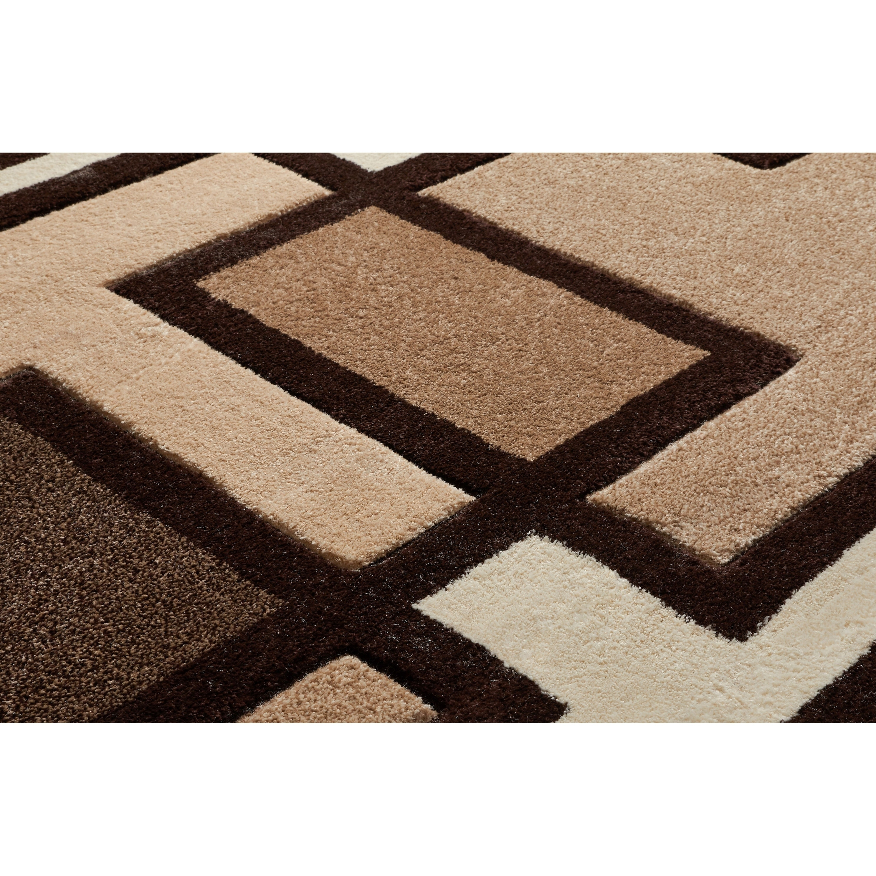 Well Woven Imagine Geometric Squares Modern Beige Brown Ivory Soft Plush Area Rug 5 3 X 7 3 Overstock 8854948