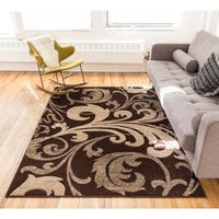 Scrolls Fleur-de-lis Gradient Hand-carved European Floral Brown and Beige Area Rug - 7'10 x 9'10