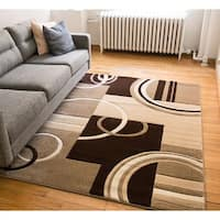 Generations Galaxy Hand-carved Ivory Brown and Beige Geometric Circles Boxes Area Rug - 7'10 x 9'10