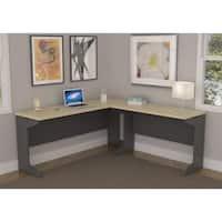 Ameriwood Home Benjamin Natural/ Grey L-shaped Desk Bundle