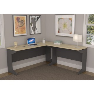 Ameriwood Home Benjamin Natural/ Grey L-shaped Desk Bundle