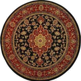 Medallion Traditional Kashan Formal Medallion Floral Black Area Rug (7'10 Round)
