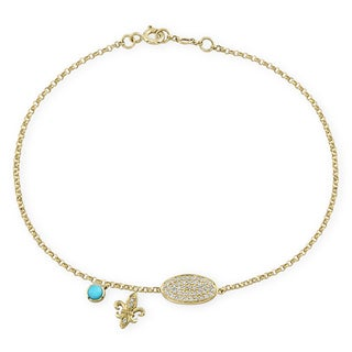 Victoria Kay 14k Yellow Gold 1/5ct TDW Diamond Fleur De Lis Charm Bracelet with Turquoise Accent (I-J,I1-I2)