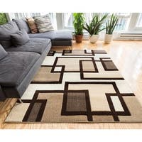 Well Woven Imagine Brown/Beige/Ivory Handmade Boxes and Lines Area Rug (7'10 x 9'10)