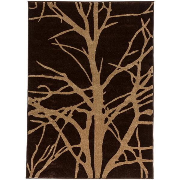 Elegant Antique Winter Tree Branches Brown And Beige Modern Geometric Area Rug (5u00273  X