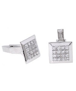 Icz Stonez Sterling Silver Plated CZ Cuff Links